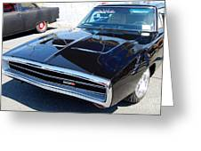 Black Dodge Charger Greeting Card
