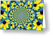 Black Eyed Susan Kaleidoscope Greeting Card