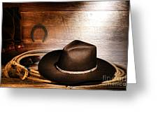Black Felt Cowboy Hat Greeting Card by Olivier Le Queinec