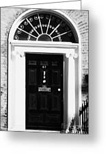 Black Georgian Door With Brass Letterbox Door Knob And Knocker And Fanlight In Dublin Greeting Card