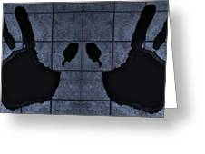 Black Hands Cyan Greeting Card