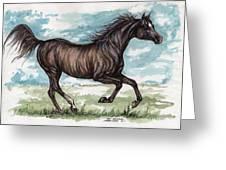 Black Horse Running Greeting Card