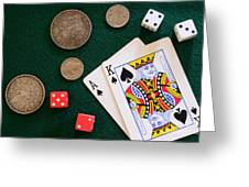 Black Jack And Silver Dollars Greeting Card