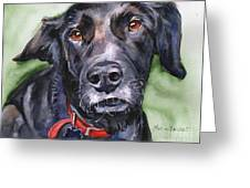 Black Lab In Watercolor Greeting Card