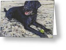 Black Lab On The Beach Greeting Card