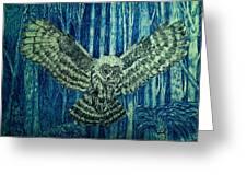 Black Owl On Blue Night Greeting Card