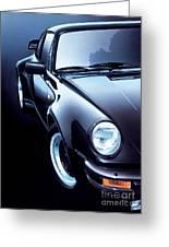 Black Porsche Turbo Greeting Card