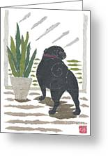 Black Pug Art Hand-torn Newspaper Collage Art Greeting Card