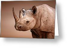 Black Rhinoceros Portrait Greeting Card by Johan Swanepoel