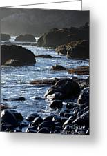 Black Rocks And Sea  Greeting Card