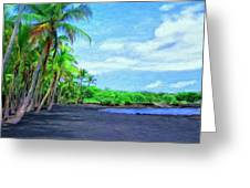 Black Sand Beach At Punaluu Greeting Card