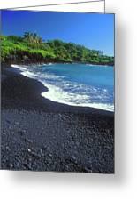 Black Sand Beach Hana Maui Hawaii Greeting Card