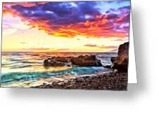 Black Sand Sunset Greeting Card