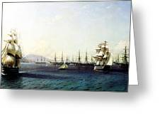 Black Sea Fleet In The Bay Of Feodosia Just Before The Crimean War 1890 Greeting Card