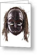 Black Tribal Face Mask On Isolated On White Greeting Card