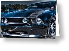 Black Truefiber Mustang Greeting Card