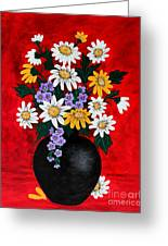 Black Vase With Daisies Greeting Card
