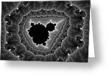 Black White And Grey Mandelbrot Fractal Art Greeting Card