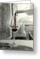 Black White And Red Wine Greeting Card
