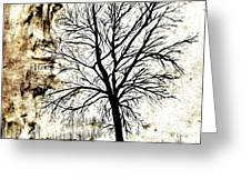 Black White And Sepia Tones Silhouette Tree Painting Greeting Card