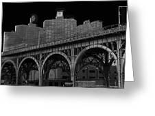Black White City Greeting Card