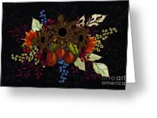 Black With Flowers And Fruit Greeting Card