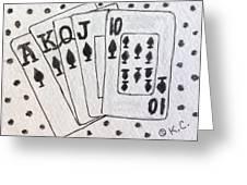 Blackjack Black And White Greeting Card