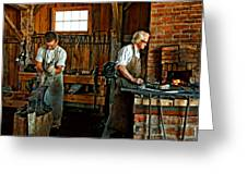 Blacksmith And Apprentice Greeting Card