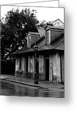 Blacksmith Shop On A Rainy Day Bw Greeting Card