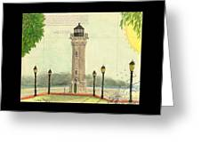 Blackwell Island Lighthouse Ny Chart Map Art Greeting Card