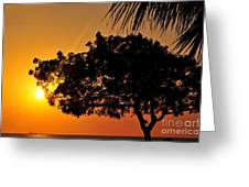 Blazing Red Sea Sunset Greeting Card