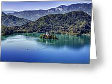 Bled Misty Island Greeting Card