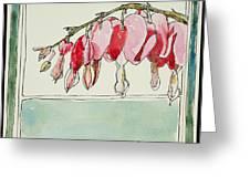 Bleeding Hearts II Greeting Card by Mary Benke