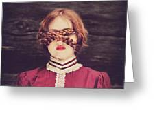 Blinded Surreal Portrait In Burgundy With Braids Greeting Card
