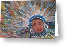 Blissful Babe With Feathers Greeting Card by Anne-Elizabeth Whiteway