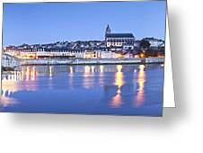 Blois Loire Valley Panorama Twilight  Centre France Greeting Card