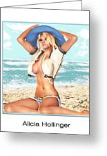 Blonde On The Beach With Opened Shirt Greeting Card