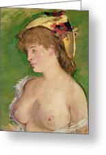 Blonde With Bare Breasts Greeting Card