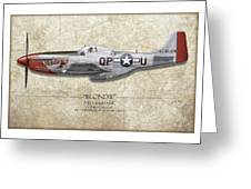 Blondie P-51d Mustang - Map Background Greeting Card
