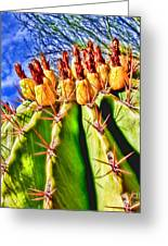 Blooming Barrel Cactus By Diana Sainz Greeting Card