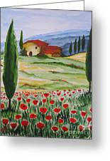 Blooming Poppy In Tuscany Greeting Card