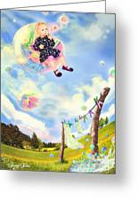 Blowing Bubbles Greeting Card by Fairy Tales Imagery Inc