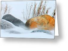 Blowing Snow And Rocks Greeting Card