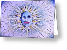 Blu Glitter Sun Greeting Card