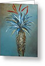 Blue Aloe With Red Flowers Greeting Card