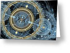Blue And Gold Mechanical Abstract Greeting Card