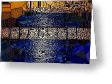 Blue And Gold Stained Abstract Greeting Card