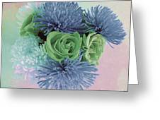 Blue And Green Flowers Greeting Card