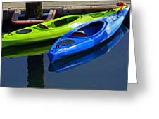 Blue And Green Kayaks Greeting Card