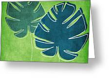 Blue And Green Palm Leaves Greeting Card
